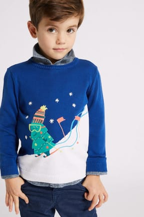 Marks & Spencer Lacivert Erkek Çocuk Saf Pamuklu Kazak 2