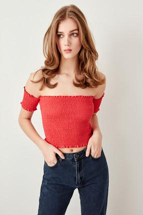 TRENDYOLMİLLA Kırmızı Gipeli Örme Bluz TWOSS19RG0002 0
