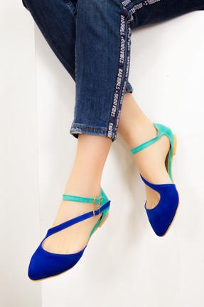 Fox Shoes Saks Mavi Su Yeşili Kadın Ayakkabı D726016902 0