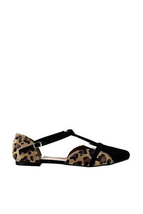 Fox Shoes Leopar Siyah Kadın Ayakkabı B726881802 1