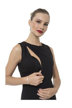 Accouchee Siyah Emzirme Özellikli Şık Elbise 1
