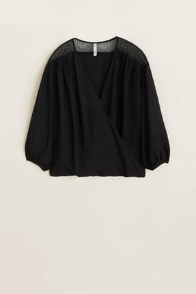 Mango Kadın Siyah Dantel Aplikeli Bluz 43027795 0