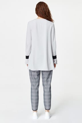 Mizalle Kadın Gri Önü Bağcıklı Tasarım Bluz 19YGMZL1012003 4