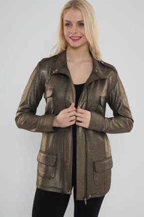 Hanna's Kadın Dore Önden Cep Detaylı Varak Baskılı Ceket  Hn468 2