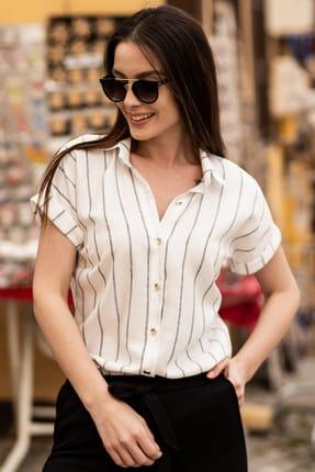 armonika Kadın Füme Keten Çizgili Kısa Kol Gömlek ARM-19Y001067 2