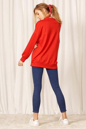 Eka Kadın Kırmızı Uzun Kol Sweatshirt 0302-9019 2