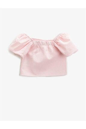 Koton Kız Çocuk Çizgili Bluz Balon Kollu 1