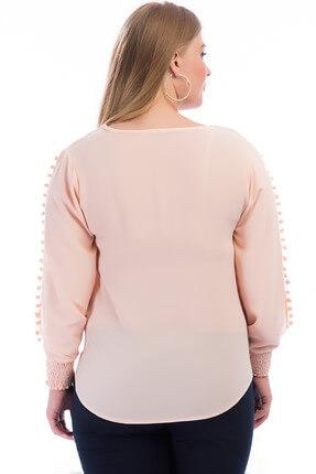 Lir Kadın Kol Üstü Ponponlu Bluz Somon 2240 1