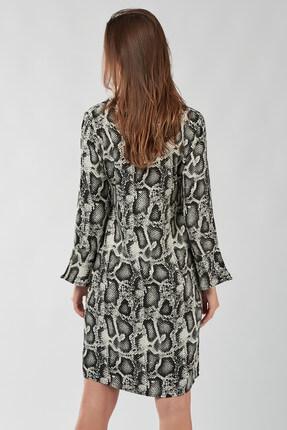 Cool & Sexy Kadın Ekru Siyah Yılan Görünümlü Elbise K931 3