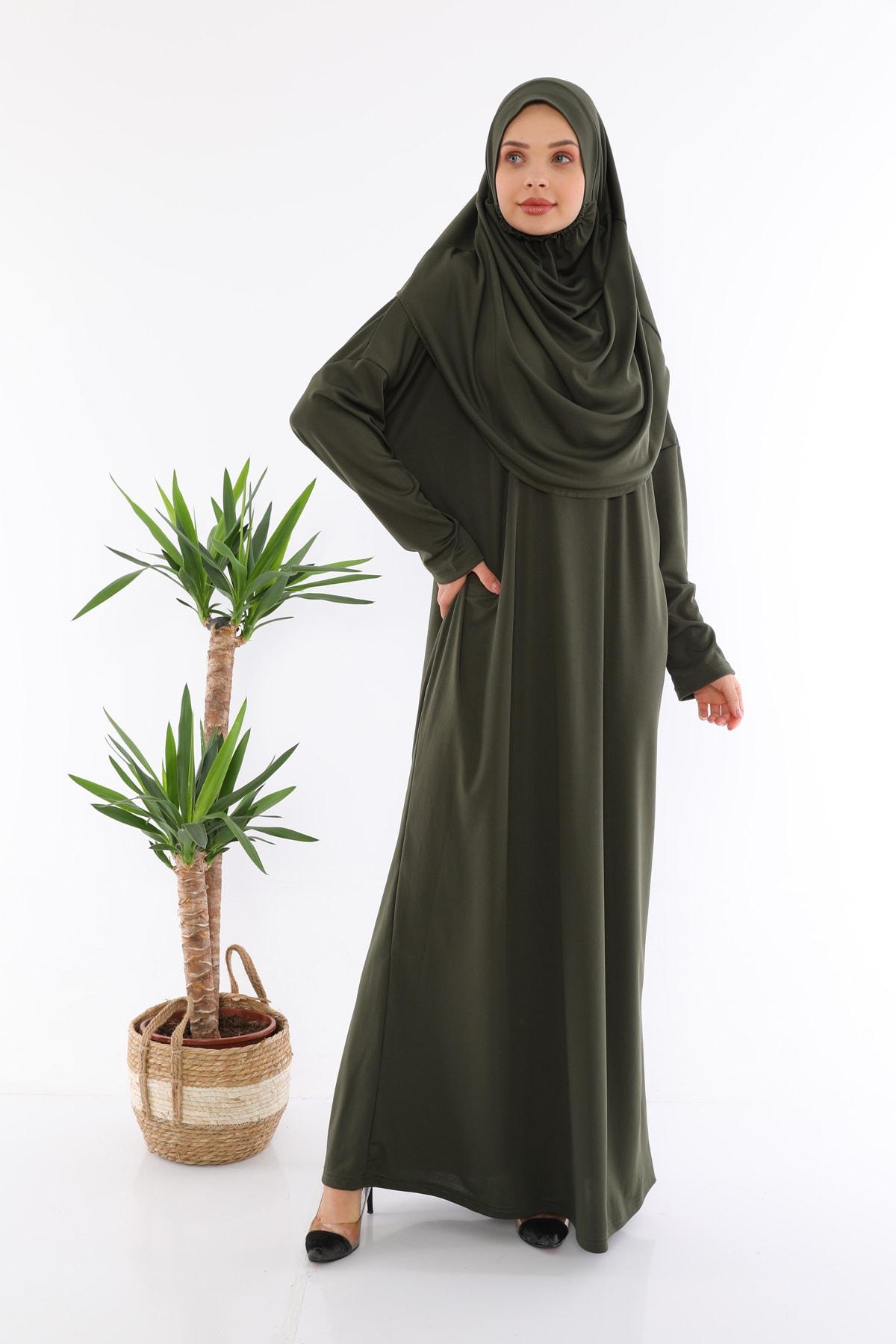 Kolay Giyilebilen Tek Parça Namaz Elbisesi Haki