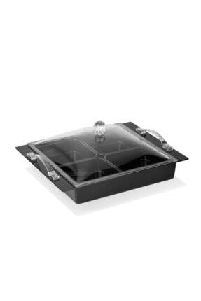 EWs Kitchenwaree Mat Siyah 4 Lü Saray Kahvaltılık 0