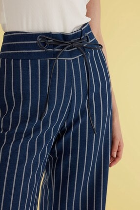Journey Kadın Lacivert Çizgili İspanyol Paça Pantolon 2