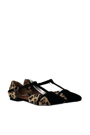 Fox Shoes Leopar Siyah Kadın Ayakkabı B726881802 4