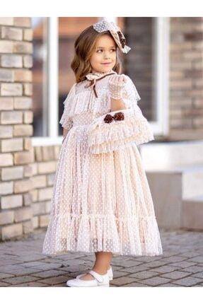 Riccotarz Kız Çocuk Noble Beaute Şapkalı Krem Elbise 3