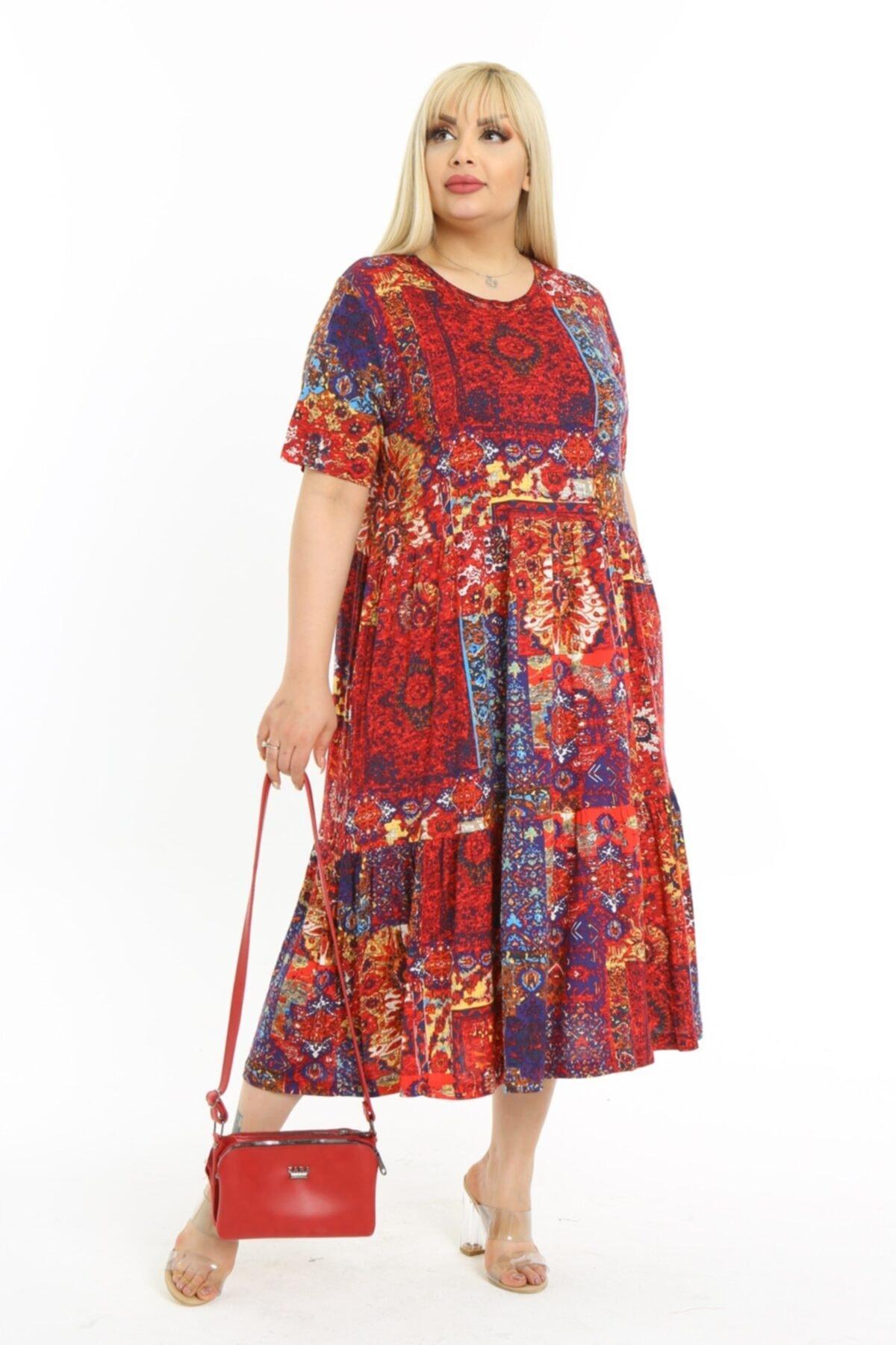 Kadın Kırmızı Büyük Beden Etnik Desen Katlı Büzgülü Viskon Elbise
