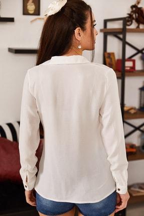 armonika Kadın Beyaz Uzun Kollu Düz Gömlek ARM-18Y001176 3