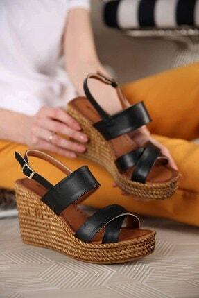 Ccway Kadın Siyah Cilt Çapraz Bantlı Dolgu Topuklu Sandalet 0