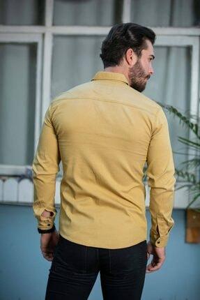 BAYEFENDİ Sarı Cepli Kot Gömlek Slim Fit 4