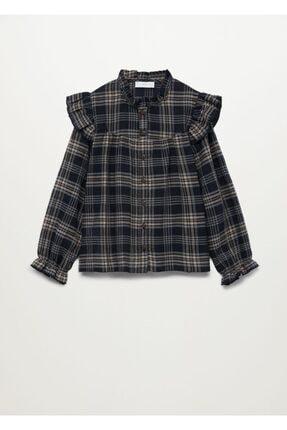 Mango Kız Çocuk Siyah Ekoseli Fırfırlı Gömlek 2