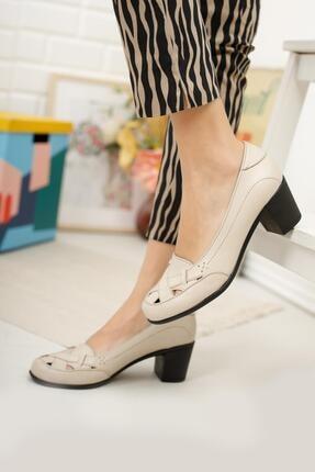Diego Carlotti Hakiki Deri Bej Kadın Topuklu Günlük Klasik Ayakkabı 1