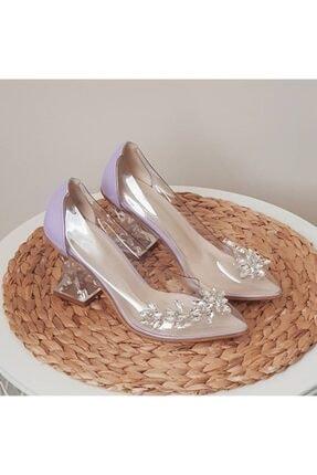 TRENDWOMAN Kadın Mor Şeffaf Taşlı Topuklu Ayakkabı 0