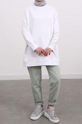 Ekrumoda Kadın Beyaz Reglan Kol Basic Sweat Tunik 1