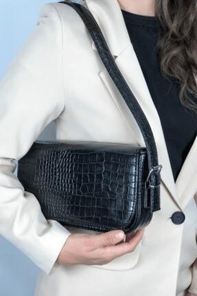 LinaConcept Kadın Siyah Kroko Kapaklı Baget Çanta 2
