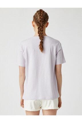 Koton Kadın Mor Bisiklet Yaka T-Shirt 3