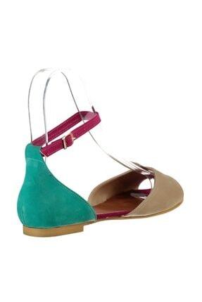 Fox Shoes Kadın Ten Fuşya Yeşil Sandalet B726555002 3