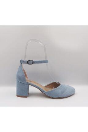 Mavi Süet Topuklu Ayakkabı MAVİ KADIN AYAKKABI