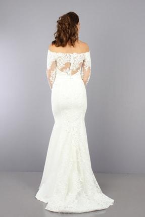 VOLAN Kadın Beyaz Nikahlık Gelinlik Balık Abiye Elbise 2