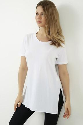 Vis a Vis Kadın Beyaz Yanları Yırtmaçlı Uzun T-shirt 0