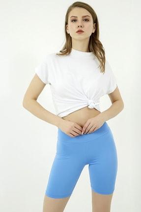 Vis a Vis Kadın Mavi Yüksek Bel Şort Tayt 3