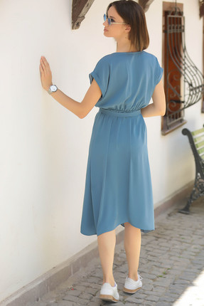 armonika Kadın İndigo Beli Lastikli Bağlamalı Elbise ARM-18Y001120 3