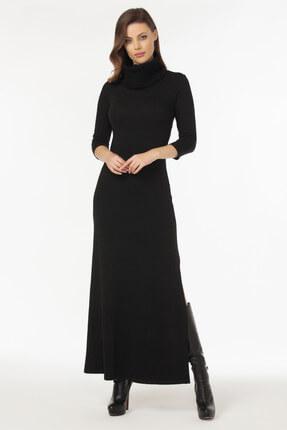 Laranor Kadın Siyah Yaka ve Yırtmaç Detaylı Triko Elbise 19L6481 1