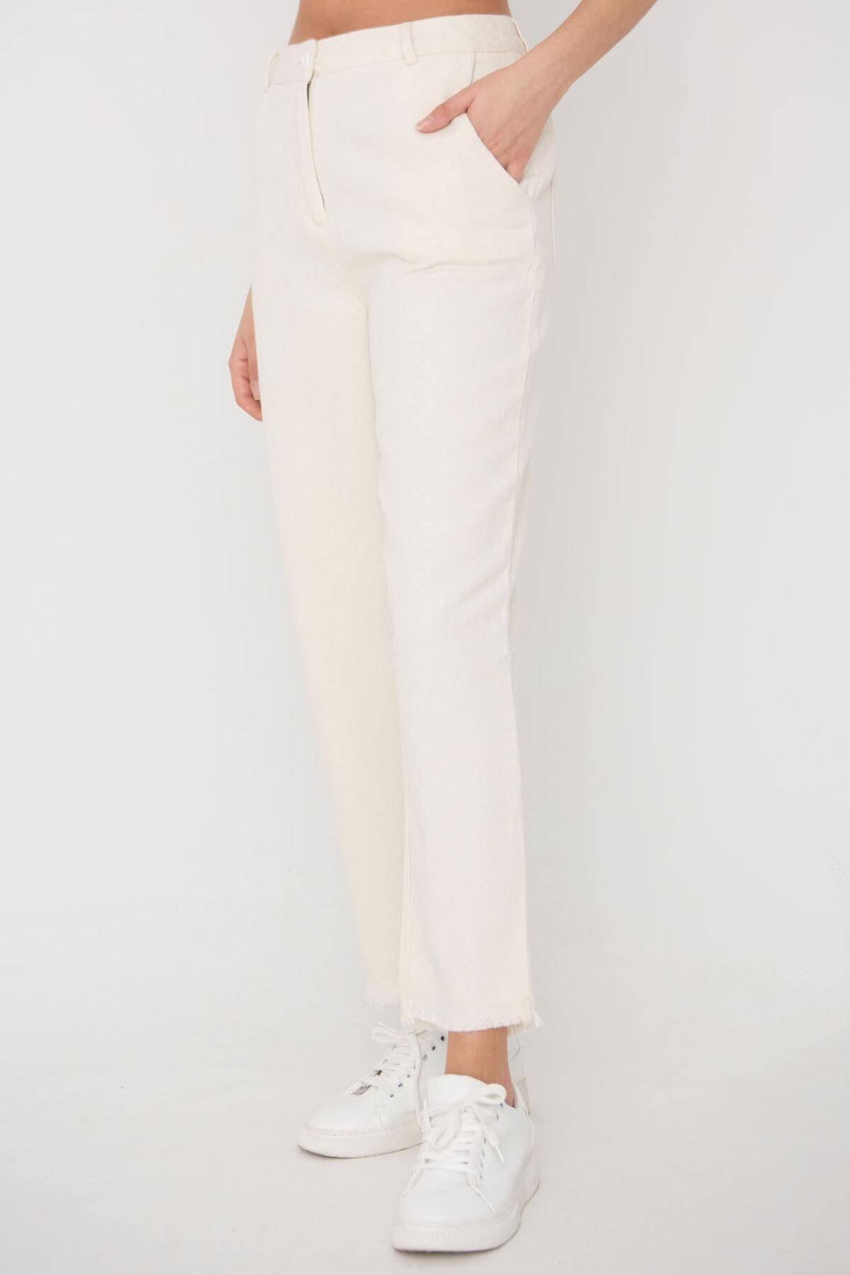 Addax Kadın Ham Paça Detaylı Pantolon Pn11-0049 - K8 Adx-0000023876 1