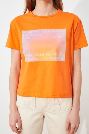 TRENDYOLMİLLA Turuncu semiftt T-Shirt TWOSS21TS2896 2