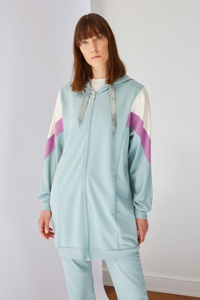 Trendyol Modest Mint Panelli Fermuarlı Örme Sweatshirt TCTSS21SW0340 1