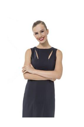 Accouchee Lacivert Emzirme Özellikli Şık Elbise 2