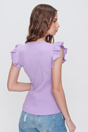 Trend Alaçatı Stili Kadın Lila Metal Aksesuarlı Kolu Fırfırlı Kaşkorse Bluz ALC-X5978 3