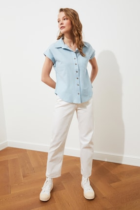 TRENDYOLMİLLA Mint Klasik Gömlek TWOAW20GO0081 2