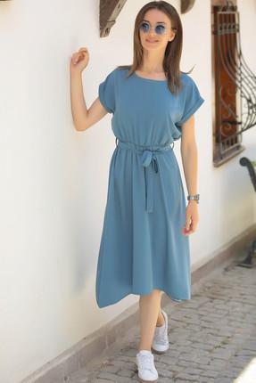 armonika Kadın İndigo Beli Lastikli Bağlamalı Elbise ARM-18Y001120 0