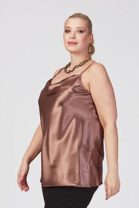 Büyük Moda Kadın Vizon İp Askılı Degaje Yaka Askılı Bluz 2