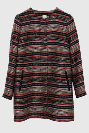 Yargıcı Kadın Siyah Desenli Yaka Detaylı A Form Palto 8KKPL5146X 0