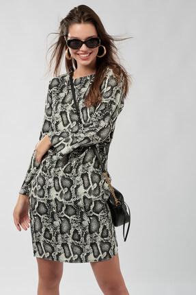 Cool & Sexy Kadın Ekru Siyah Yılan Görünümlü Elbise K931 0