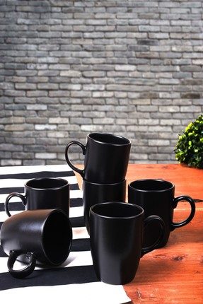 Keramika 6 Adet 9 Cm Bulut Kupa Mat Siyah 0