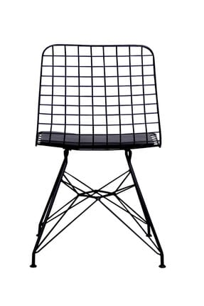 Evdemo Dekor Siyah Tel Metal Sandalye 1