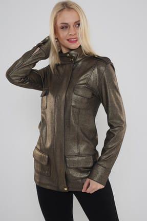 Hanna's Kadın Dore Önden Cep Detaylı Varak Baskılı Ceket  Hn468 1