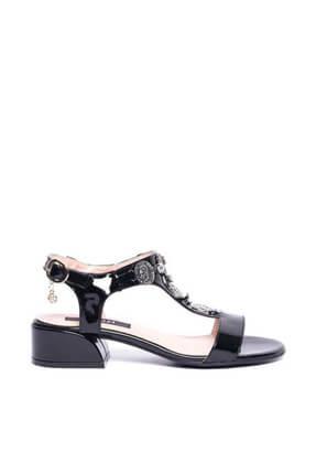 Kuum Kz1613-1 Siyah Kadın Deri Sandalet 100387812 1
