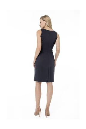 Accouchee Lacivert Kolay Emzirme Özellikli Şık Elbise 3